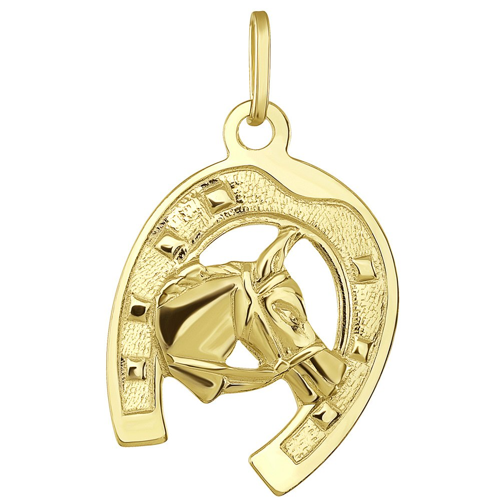 Solid 14K Yellow Gold Good Luck Horseshoe with Horse Head Pendant with Figaro Chain Necklace