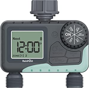 RAINPOINT Sprinkler Timer,Water Timer Programmable with 2 Independent Controlled Outlets,Garden Hose Timer Outdoor with Rain Delay/Manual/Auto Watering System,Leakproof Irrigation Timer for Lawns Pool