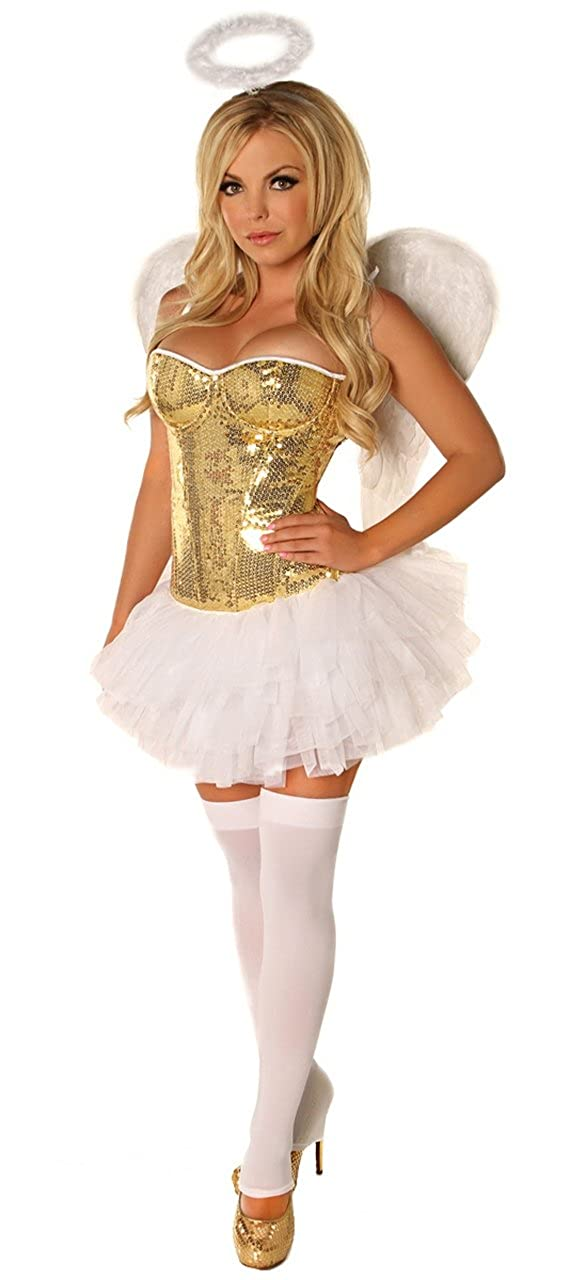 c8ae803a71 Amazon.com  Daisy corsets 4 PC Gold Sequin Angel Sexy Women s Costume   Clothing