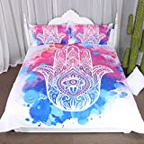 Arightex Girly Watercolor Hamsa Hand of Fatima Duvet Cover 3 Piece Hippie Bohemian Bedding Good Luck Psychedelic Bedspread (King)