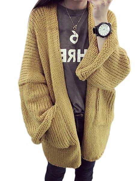 Choco Mocha Womens Baggy Oversized Cardigan Sweater With Pockets