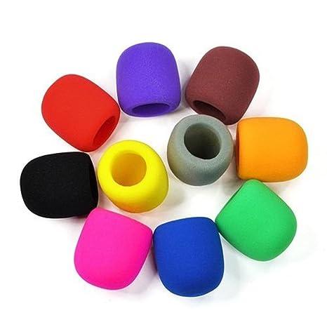 10pc Colores mano Escenario Micrófono parabrisas Espuma Mic Cover ...