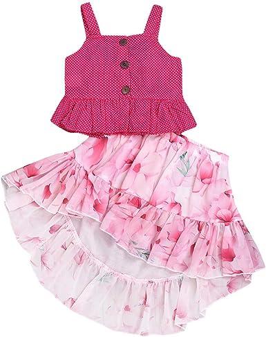 TWIFER_Verano Summer Blusa Tops Floral Falda Vestido Ropa Toddler ...