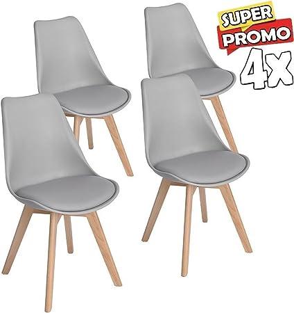 BAKAJI Set 4 sedie Design Tulipano con Cuscino Imbottito