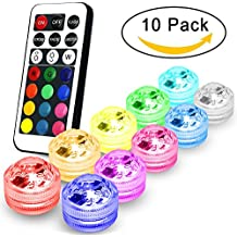 AYG Flameless LED Tea Lights Candles,Multi Color Option Battery-Powered,Multi Color Bulb Light with Remote Control,Perfect for Weddings Thanksgiving Holiday Party Lighting Strobe, Set of 10