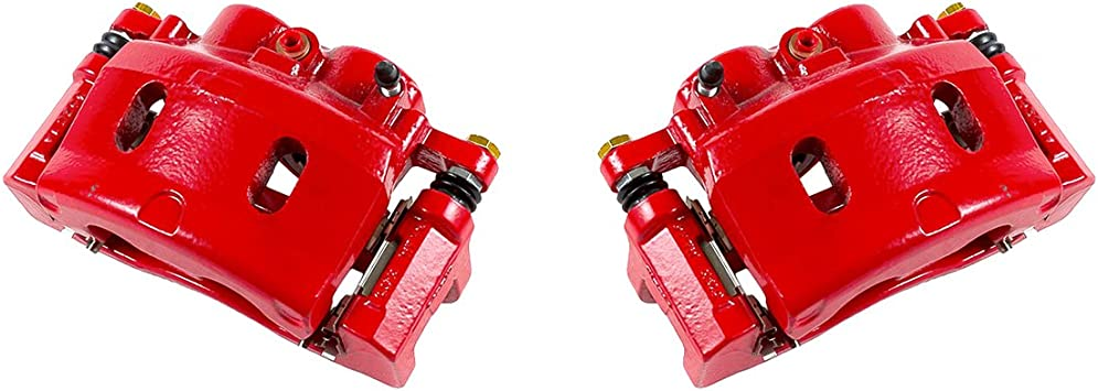 CK01196 2 FRONT Performance Grade Red Powder Coated Semi-Loaded Caliper Assembly Pair Set