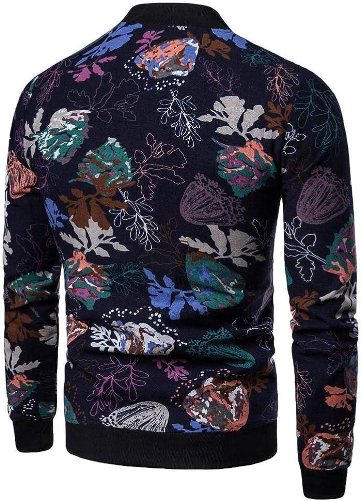 Colmkley Men Casual Print Floral Open Front Long Sleeve Jacket Zip Up Sweatshirt