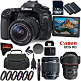 Canon EOS 80D DSLR Camera + 18-55mm Lens + Canon EF 11-24mm f/4L USM Lens + 128GB Memory Card International Version