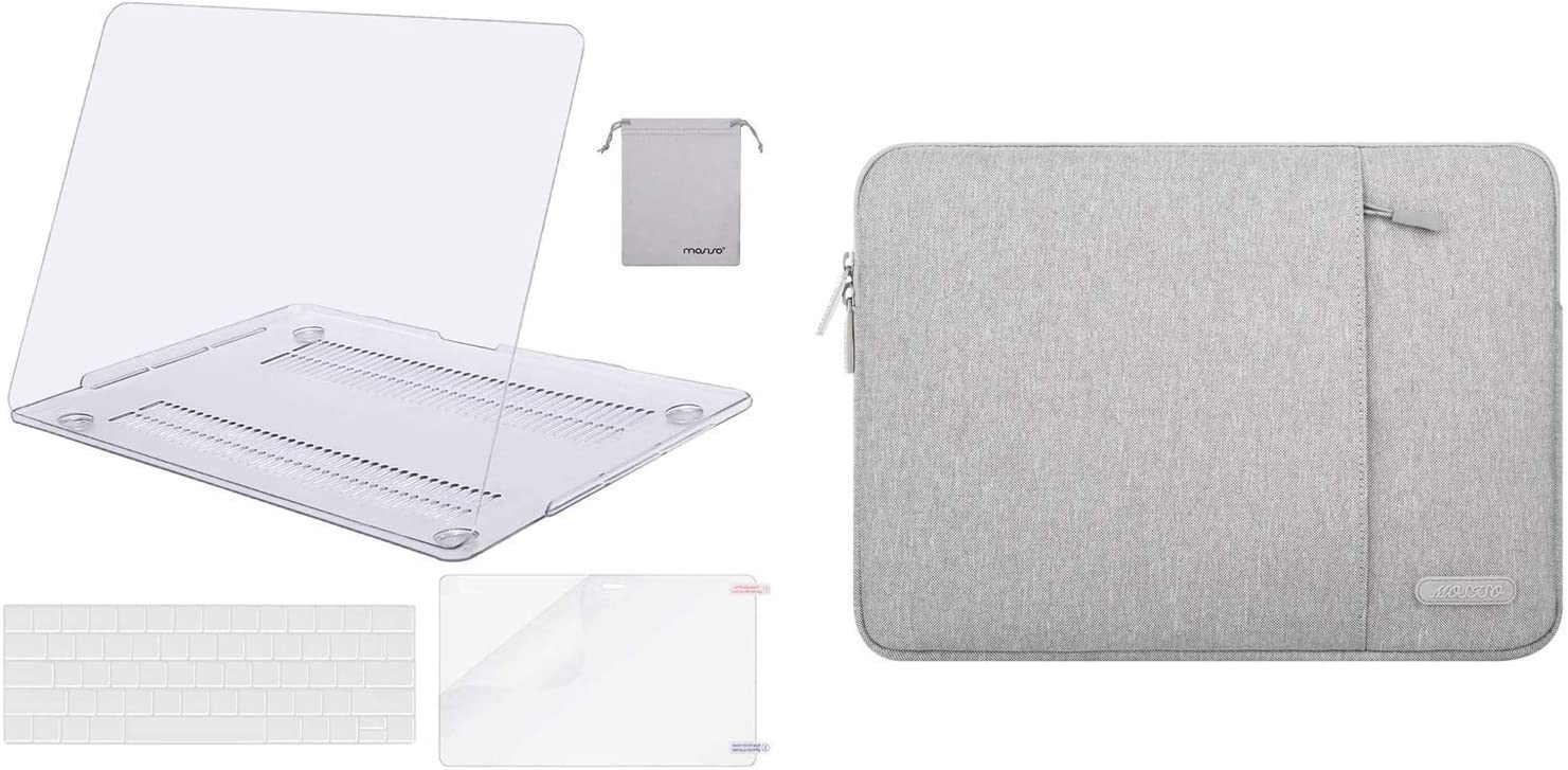 MOSISO Plastic Hard Shell Case & Vertical Sleeve Bag Compatible with MacBook Pro 13 inch 2019 2018 2017 2016 Release A2159 A1989 A1706 A1708