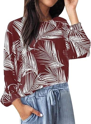 TOPKEAL Moda Camisa de Talla Grande de Estilo Boho con Estampada Hojas para Mujer Blusa Casual de Manga Larga de Damas: Amazon.es: Ropa y accesorios