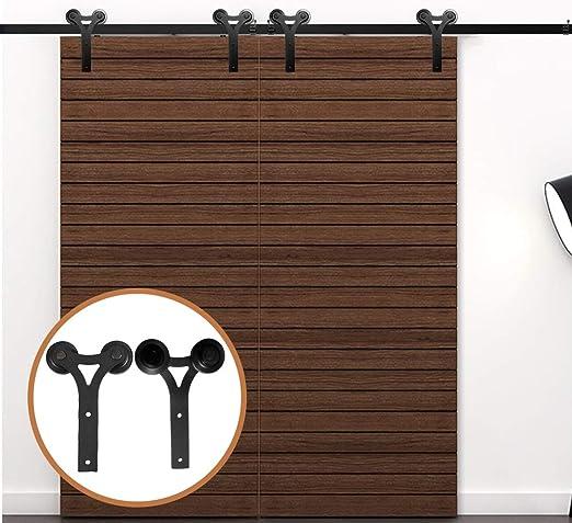 LWZH 13.6FT/413 cm Herraje para Puerta Corredera Kit de Accesorios para Puertas Dobles,Negro: Amazon.es: Bricolaje y herramientas