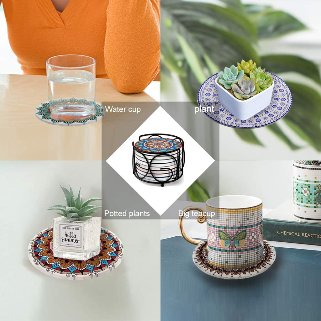 Metal Holder Housewarming Bar Kicpot Set of 8 Absorbent Mandala Stone Coasters with Cork Base Coasters for Drinks Holiday Party Great Gift for Birthday Room Decor