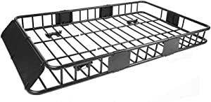 """All Goodly 64"""" Universal Black Roof Rack Cargo Carrier w/with Extension Luggage Hold Basket SUV"""