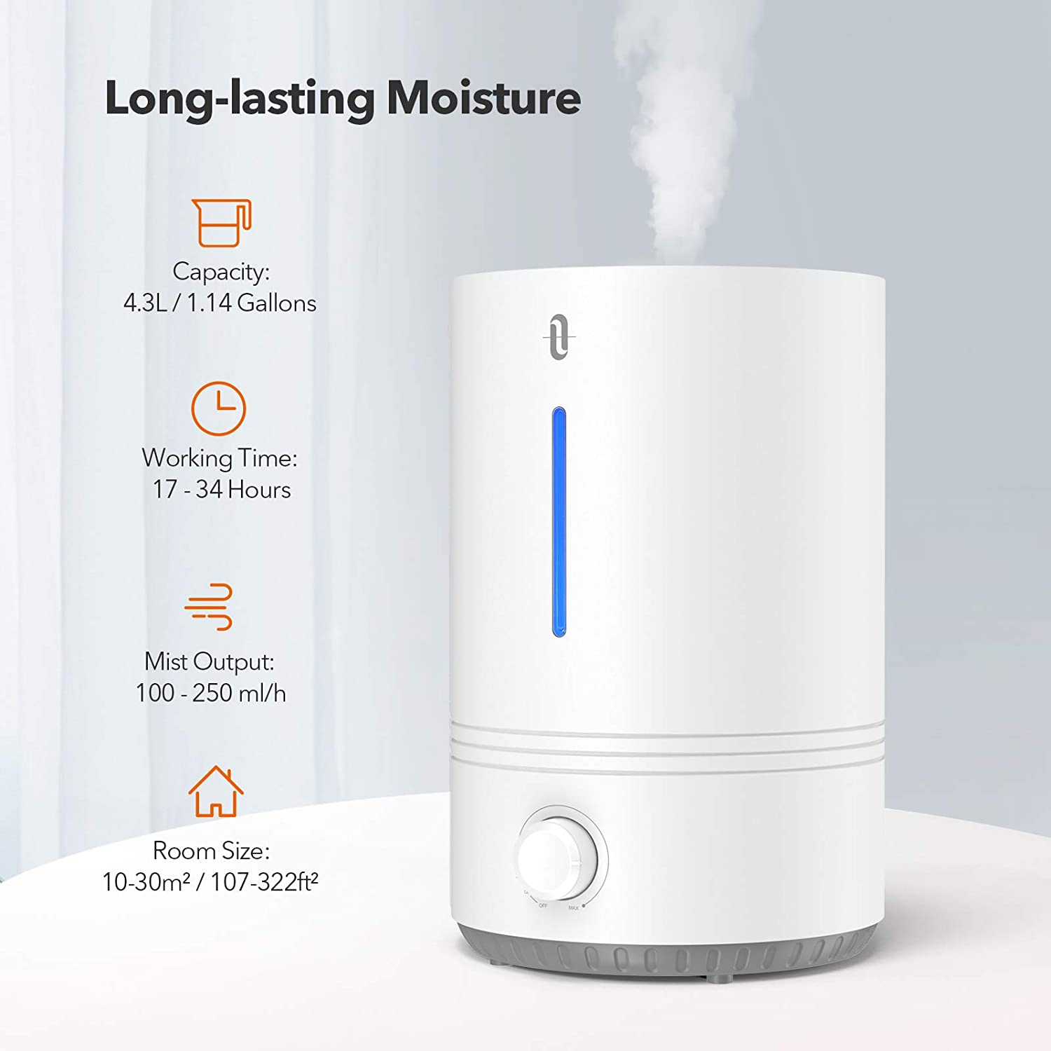 Blue Mood Light BPA Free Easy to Clean 17-36 Hours 4.3L Cool Mist Humidifier for for Bedroom Nursery TaoTronics TT-AH027-NEW Top Fill Auto Shut Off White