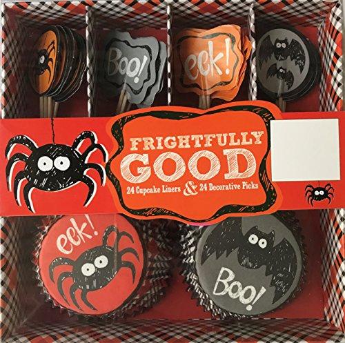 Halloween Frightfully Good Spider Boo Eeek 24 Cupcake Liners & 24 Decorative Picks -