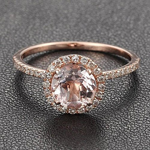 1.25 Carat Antique Design Round cut Morganite and Diamond Halo Engagement Ring for Women In Rose Gold