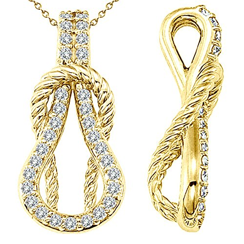 0.31 Carat White Diamond Beautiful Fancy Charm Rope Love Knot Pendent Necklace With Chain 14K Yellow Gold ()
