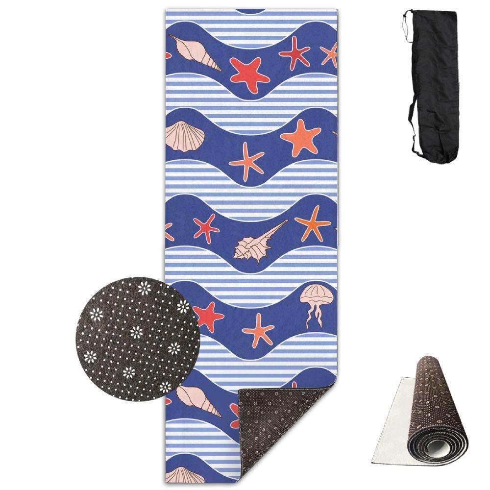 70inch Long 28inch Wide Comfort Velvet Yoga Mat, Waves Stars Jellyfish Mat Carrying Strap & Bag