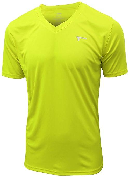 fcd6c3317b0a5c TREN Herren COOL Ultra Lightweight Polyester SS V-Neck Funktionsshirt T-Shirt  Kurzarm Limegrün