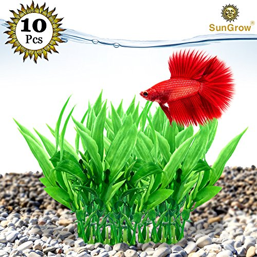 """SunGrow 10 Green Artificial Aquarium Plants - 4.7"""" Plastic Salt or Freshwater Tank Decorations - Realistic, Plants in Sturdy 1.2"""" Ceramic Base - Easy to Maintain & Less Stressful Than Live Plants"""