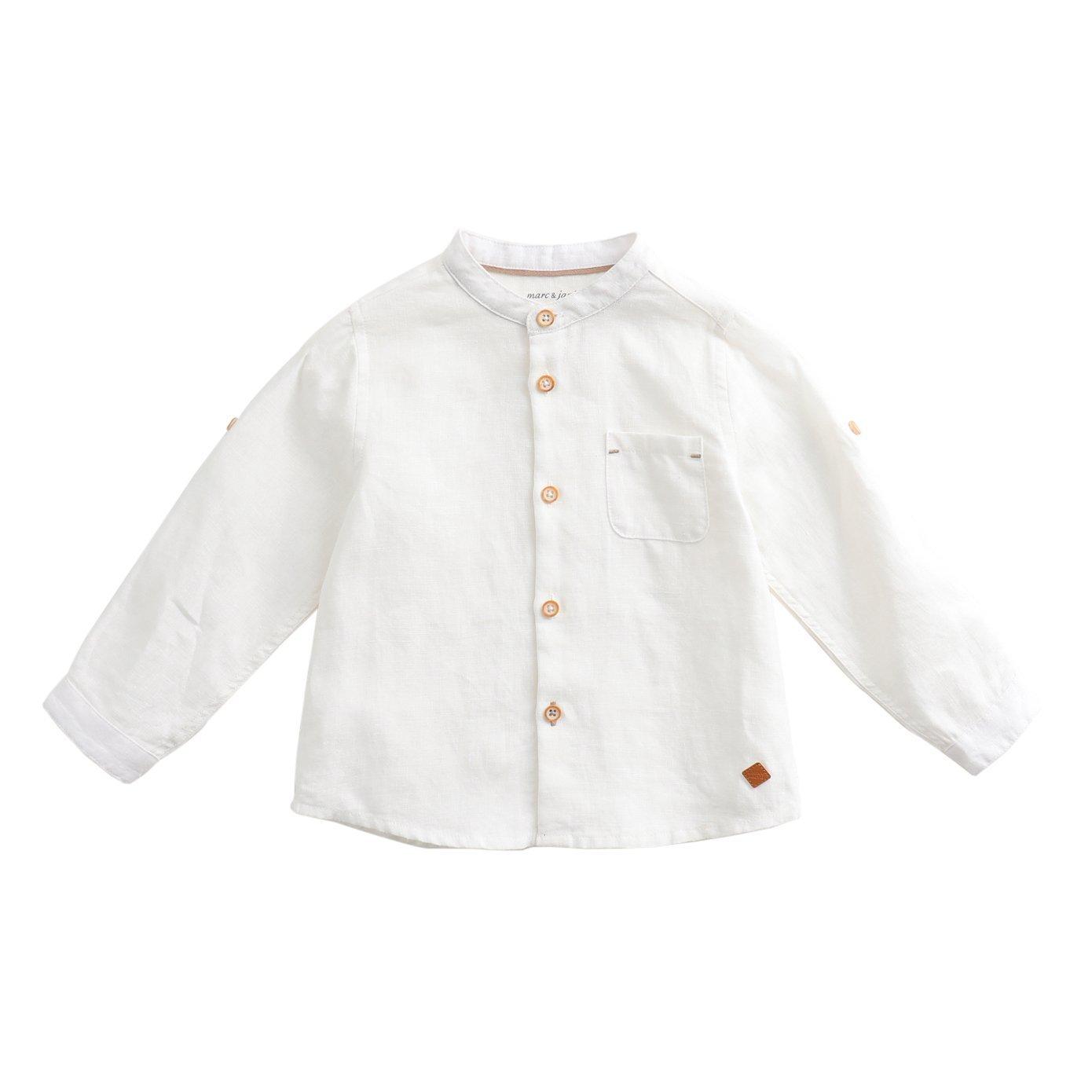 marc janie Spring Baby Boys Kids' Linen Shirt Solid Long Sleeve Button-Down Shirt MJ13202