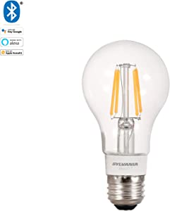 SYLVANIA SMART+ Bluetooth Soft White Dimmable Filament A19 LED Light Bulb, 40-Watt Equivalent, Works with Amazon Alexa, the Google Assistant, and Apple HomeKit, No Hub Required