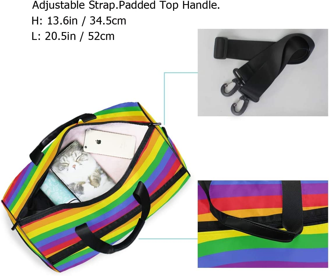 FAJRO Gym Bag Travel Duffel Express Weekender Bag Pattern Rainbow Carry On Luggage with Shoe Pouch