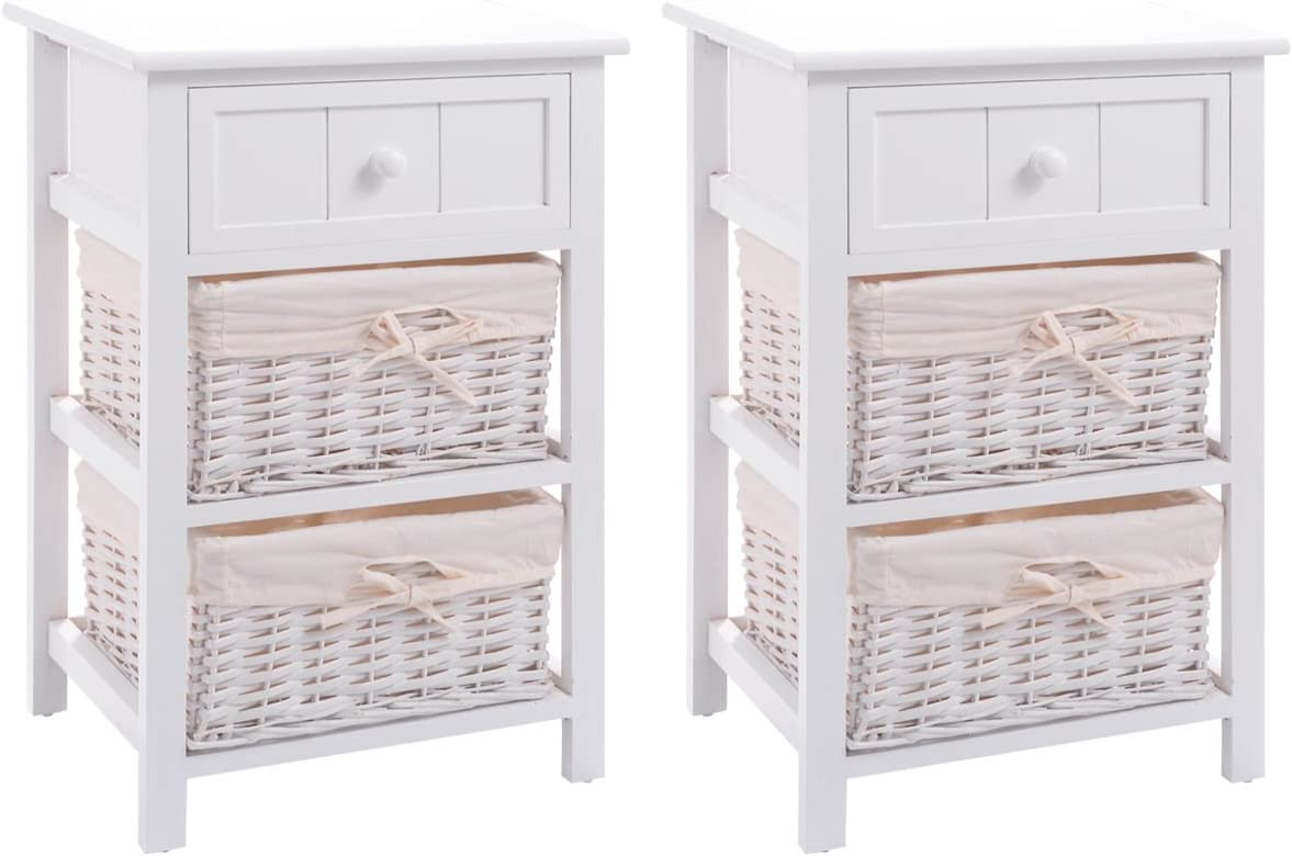 Giantex Nightstand with Drawers Wooden, W/ 2 Storage Baskets and Open Shelf for Bedroom, Bedside Sofa End Table,White (2, White)