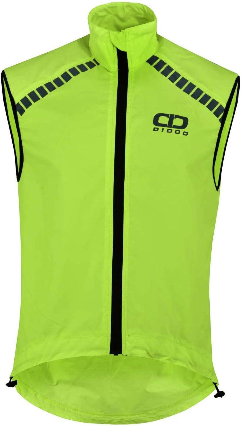 Didoo Cycling Gilet Men Reflective Vest Bicycle Top for MTB Hi-Viz Windproof Safety Running Cycling Biking Sleeveless Jacket