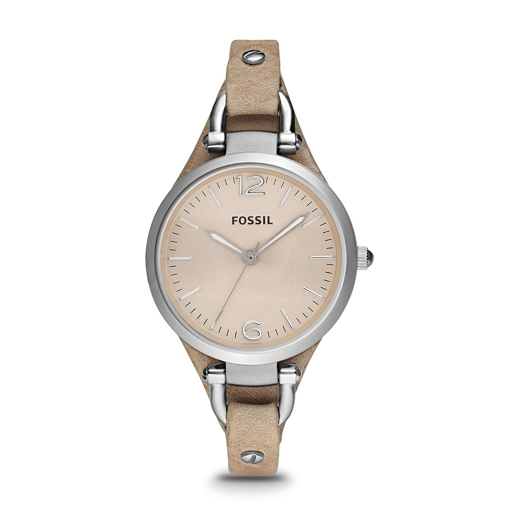 Fossil Women's Georgia Quartz Stainless Steel and Leather Casual Watch, Color: Silver-Tone, Tan (Model: ES2830)