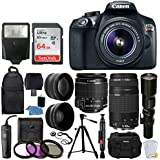 Canon EOS Rebel T6 DSLR Camera + EF-S 18-55mm IS II Lens + 75-300mm & 500mm Telephoto Lens + Filter Kit + 64GB Memory Card + Backpack & Accessory Case + Slave Flash + Remote + Tripod – Complete Bundle