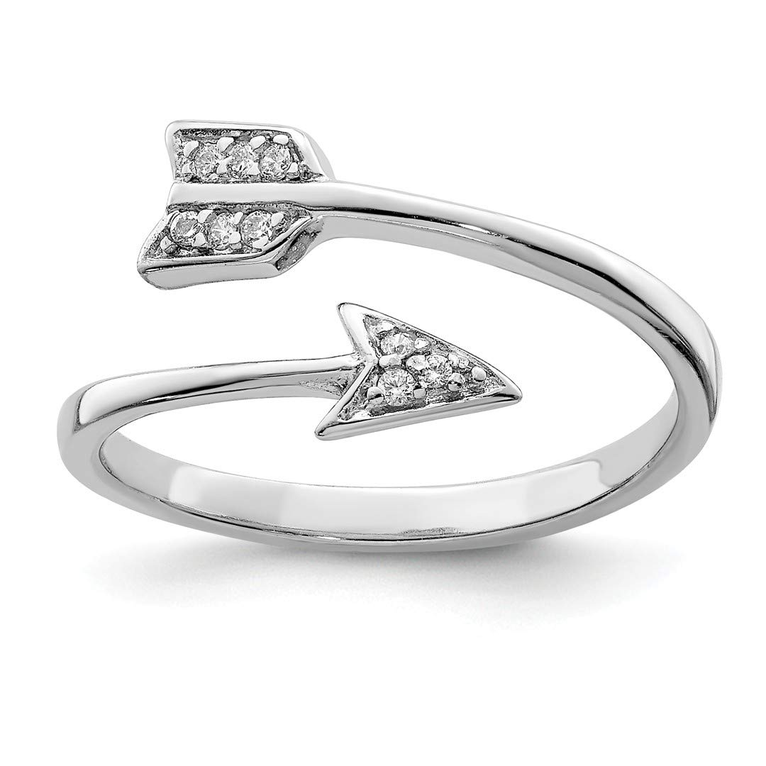 ICE CARATS 925 Sterling Silver Cubic Zirconia Cz Arrow Band Ring Size 7.00 Adjustable Fine Jewelry Ideal Gifts For Women Gift Set From Heart