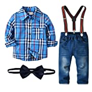 Nwada Little Boys Clothes Sets Bow Ties Shirts + Suspenders Pants Denim Jeans Toddler Boy Gentleman Outfits Suits Blue 1-2.5 Years