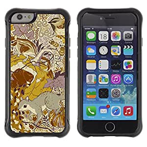 WAWU Funda Carcasa Bumper con Absorci??e Impactos y Anti-Ara??s Espalda Slim Rugged Armor -- gold floral pattern yellow mustard vintage -- Apple Iphone 6 PLUS 5.5