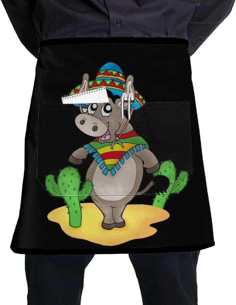 Mexicano burro con Cactuses Unisex Fashion bolsillo cintura delantal restaurante camarera camarero media Bistro delantales: Amazon.es: Hogar