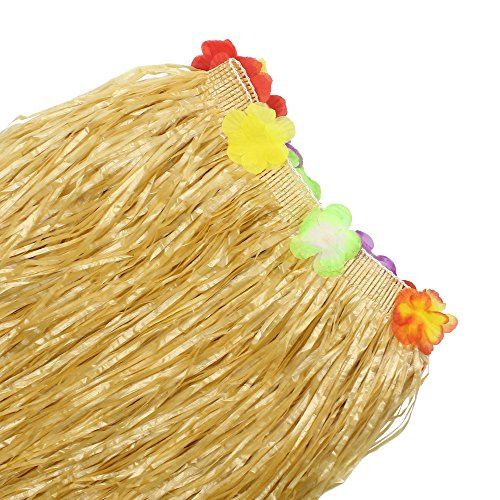 BAKHUK 1Pack 9ft Hawaiian Table Hula Grass Skirt with Little Flowers and 30Pcs Hibiscus Flowers for Tabletop Decoration, Party Decoration, Birthdays, Celebration by BAKHUK (Image #6)