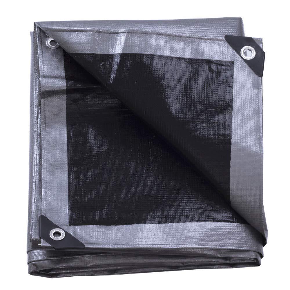 Soclear - Bâche de Protection Imperméable en PVC - Vinyle Robuste 220g/m² - Gris et Noir réversible - 2.4m x 3m (8' x 10')