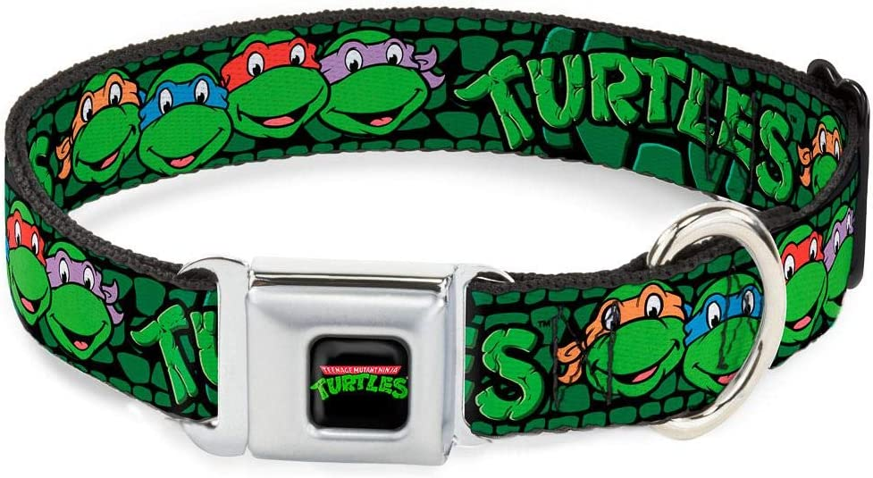 Buckle-Down Seatbelt Buckle Dog Collar - Classic TMNT Group Faces/Turtles Turtle Shell Black/Green
