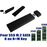 KALEA-INFORMATIQUE-USB Box ©-Per SSD M2 a USB3 (USB 3,0 SUPERSPEED)-Per SSD SATA M2 formato 2230 2242 2280, corpo in alluminio, colore: nero
