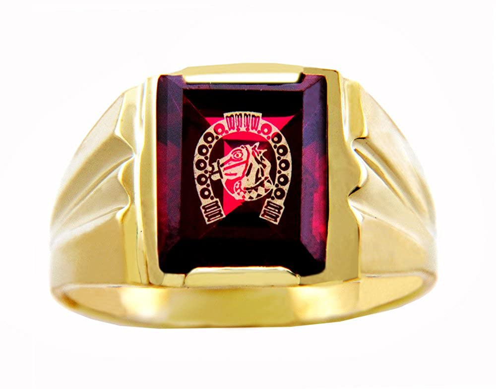 Mens 10k Yellow Gold Red Garnet CZ Stone Horseshoe with Horse Head Ring