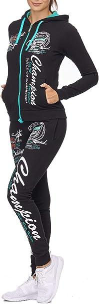 Damen Jogginganzug Jacke und Hose |100/% Baumwolle mit Kapuze und B/ündchen Bequem und Sportlich Champion 511