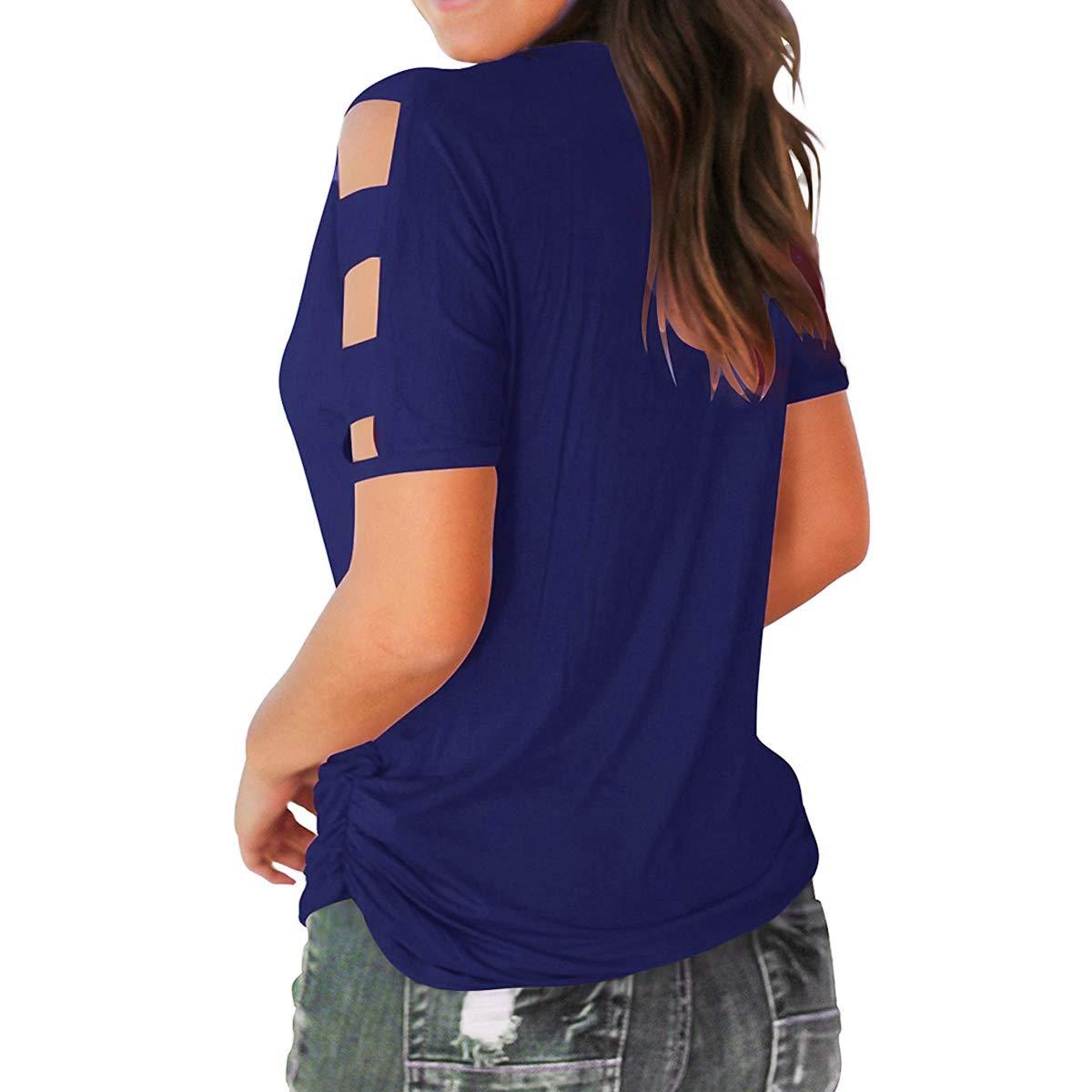 Eanklosco Womens Summer Short Sleeve Cold Shoulder Tops V Neck Basic T Shirts (Blue, XL)