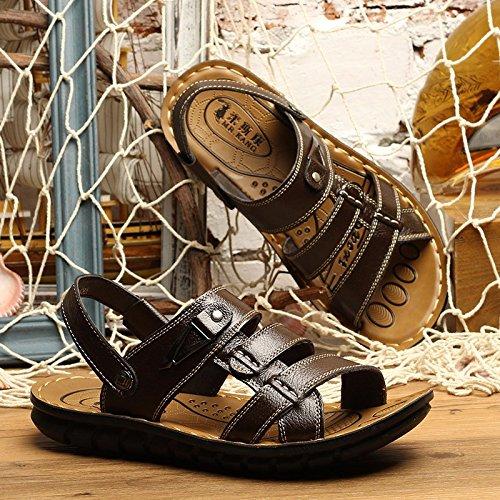 Sommer Männer Sandalen Freizeit Schuh Strand Schuh Leder Sandalen Echtleder Sandalen Männer Schuh Trend Dualer Gebrauch Sandalen ,braun ,US=8.5,UK=8,EU=42,CN=43