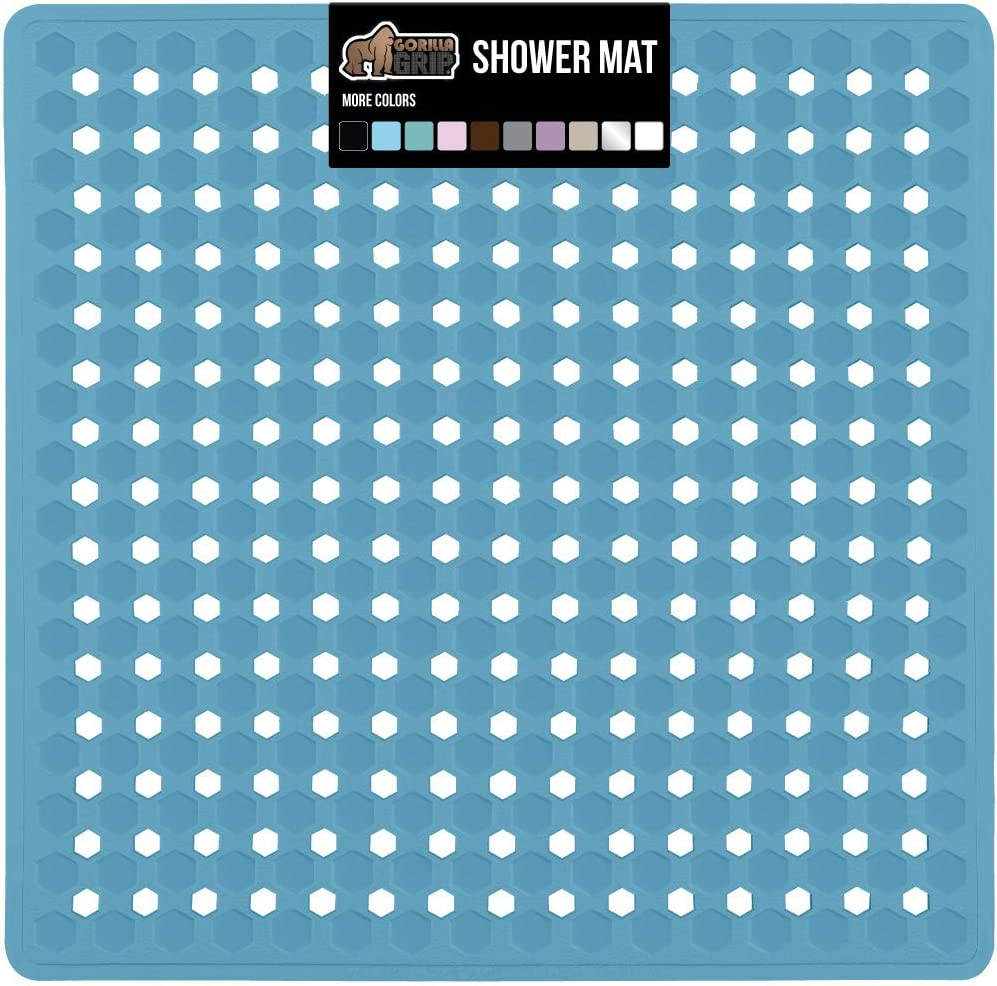 Gorilla Grip Patented Shower Stall Mat, 21x21 Bath Tub Mats, Washable, Antibacterial, BPA, Latex, Phthalate Free, Square Bathroom Mats for Showers with Drain Holes, Suction Cups, Sky Blue Opaque