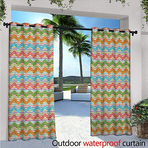 BlountDecor Chevron Balcony Curtains W84 x L108 Vintage Inspired Chevron Zigzag Motif Woven Effect Image Bohemian Style Retro Print Outdoor Patio Curtains Waterproof with Grommets Multicolor -