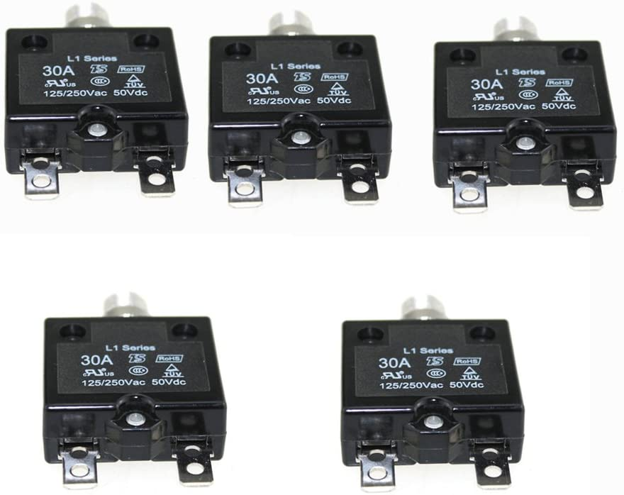 5 pcs 5A Circuit Breakers with manual reset DC 50V AC125-250V with Quick Connect Terminals