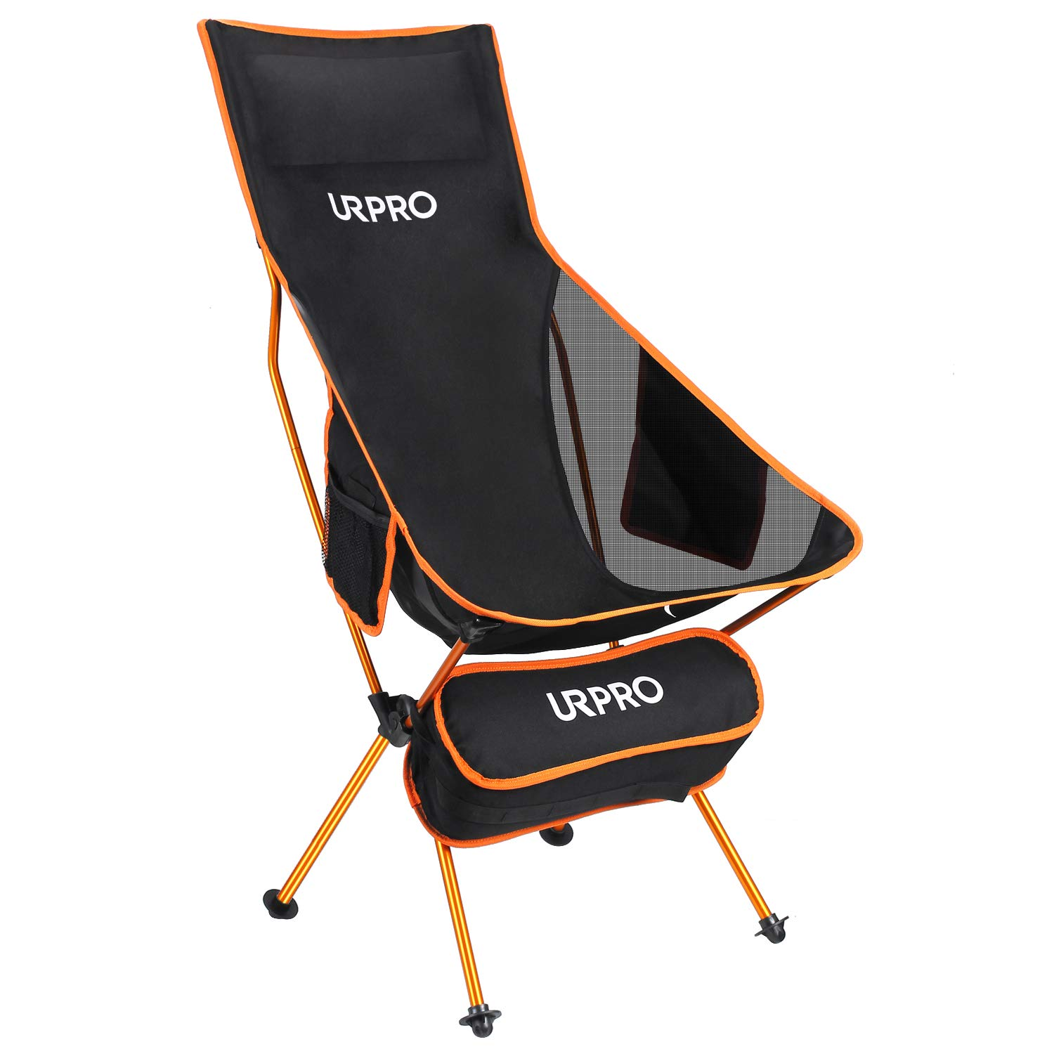 URPRO Upgraded Outdoor Camping Chair Portable Lightweight Folding Camp Chair with Headrest & Pocket High Back for Outdoor Backpacking Hiking Travel Picnic Fishing