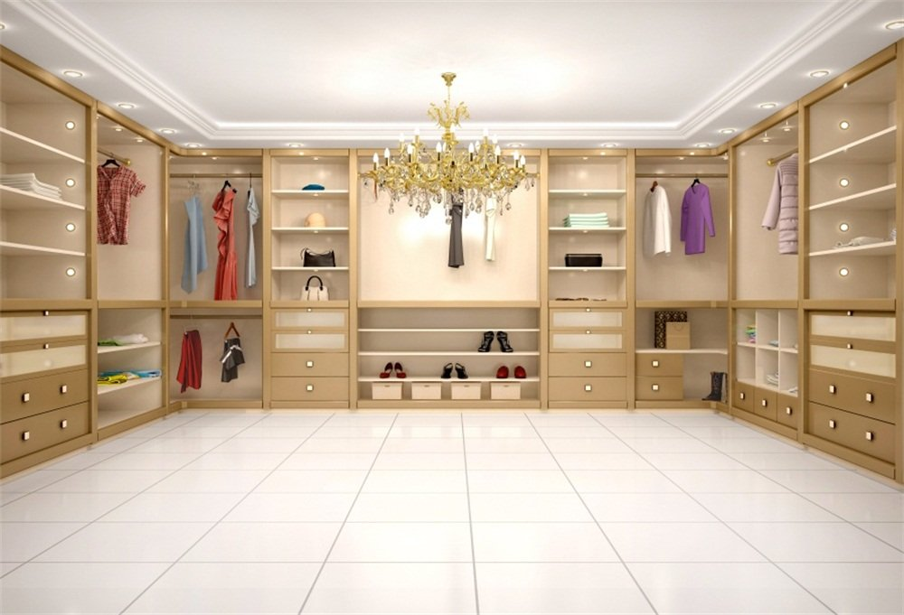 LFEEY 7x5ft Modern Luxury Wardrobe Photo Backdrop 3D Dressing Room Closet Clothes Rack Crystal Chandelier Cabinet Background Photography Portriat Events Party Photo Studio Props