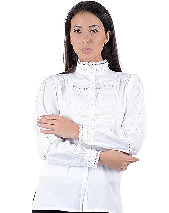 b8b4ab1b7a Cotton Lane White Classic Blouse Long Sleeve: Amazon.co.uk: Clothing