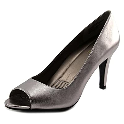 Easy Spirit PEEP TOE PUMP Women Peep-Toe Heels STONE-LEATHER(WIDE),9.5